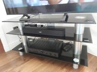 TV stand - Black glass with chrome finish