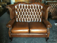 Tan / brown 2 seater highback Chesterfield sofa
