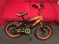"Boys 16"" Inch Bike - Strike Orange Bicycle - with stabilisers"
