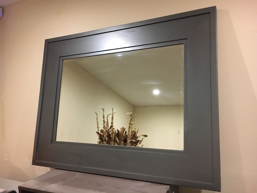 Large silver solid wood wall mirror