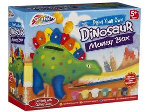 Paint your own Dinosaur Money Box Kit With Paint & Brush & Glitter Glues 16-6598