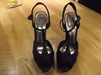 """Black satin party shoes, Size 7, 5"""" heel from Debut at Debenhams, Excellent Condition"""