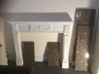 Old plaster cast antique fireplace complete with marble surrounds