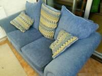 2 Seater Sofa - Blue Fabric