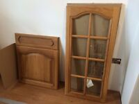 New Solid oak Kitchen unit repacement doors MFI still boxed with handles,plynth,cornice