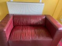 Maroon leather couch