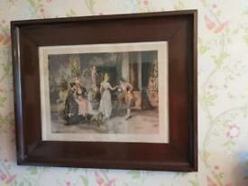 Antique large coloured print