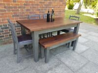 Rustic farmhouse wooden dining table, 4 chairs + bench. Charcoal grey. shabby chic. LOCAL DELIVERY.