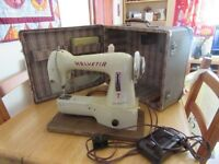Vintage Electric Hevetia Portable sewing machine in case - works