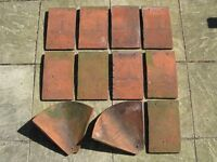 Roof tiles Keymer handmade clay 9 tiles size 11in x 7in and 2 valley tiles used