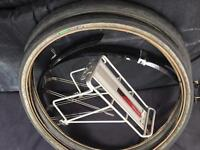 "Job lot of touring bike/commuter 26"" kit, scwalbe, topeak pannier rack, mud guards"