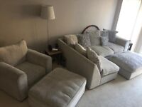 Corner sofa with armchair and two foot stools