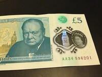 AA34 new £5 bank note