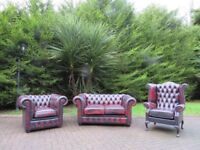 Chesterfield Leather 2+1+1 Buttoned Suite (Ox-Blood)