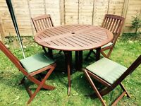 Wood Garden Table & 4 Chairs