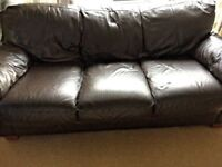 HARVEYS BROWN LEATHER 3 SEATER SOFA FOR SALE - MUST GO ASAP -FREE NEXT DAY DELVERY SOME AREAS - £160