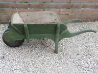 ANTIQUE VICTORIAN WOODEN WHEELBARROW