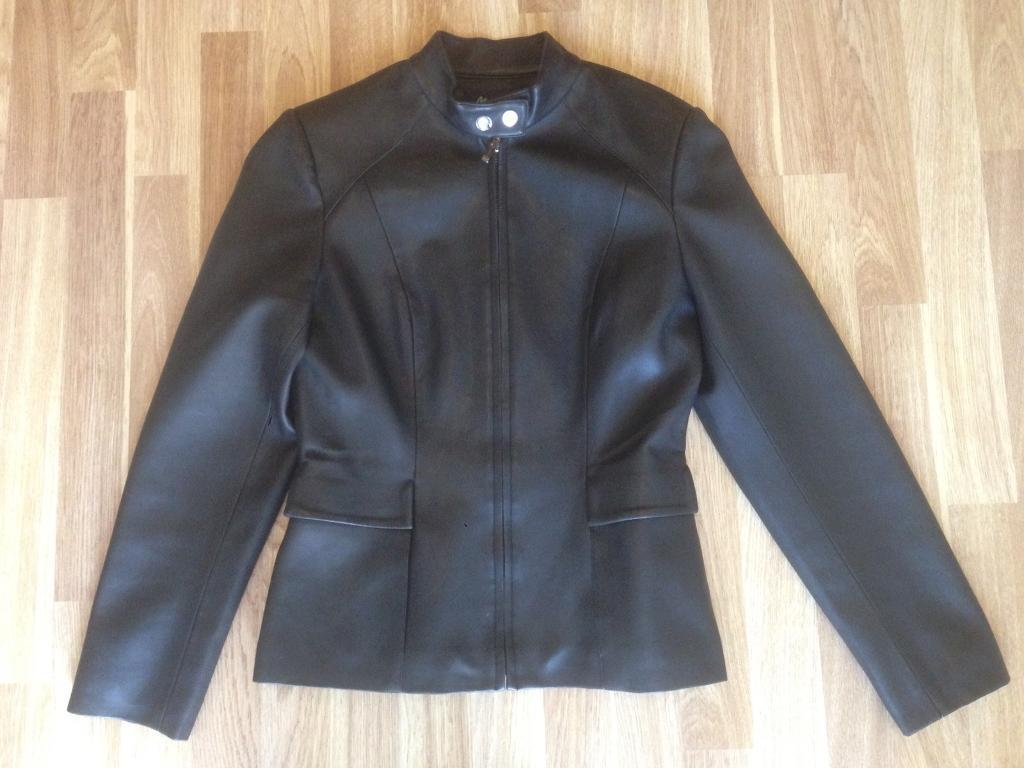Women's black faux leather jacket, size 10. Immaculate condition.