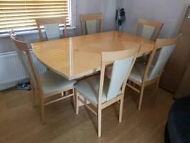 Harveys Italian Lola birch and walnut vaneer furniture set, dining table