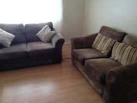 2 brown suede effect fabric sofas from next