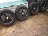 """17"""" alloy wheels with nearly new 225-45-17 tyres"""