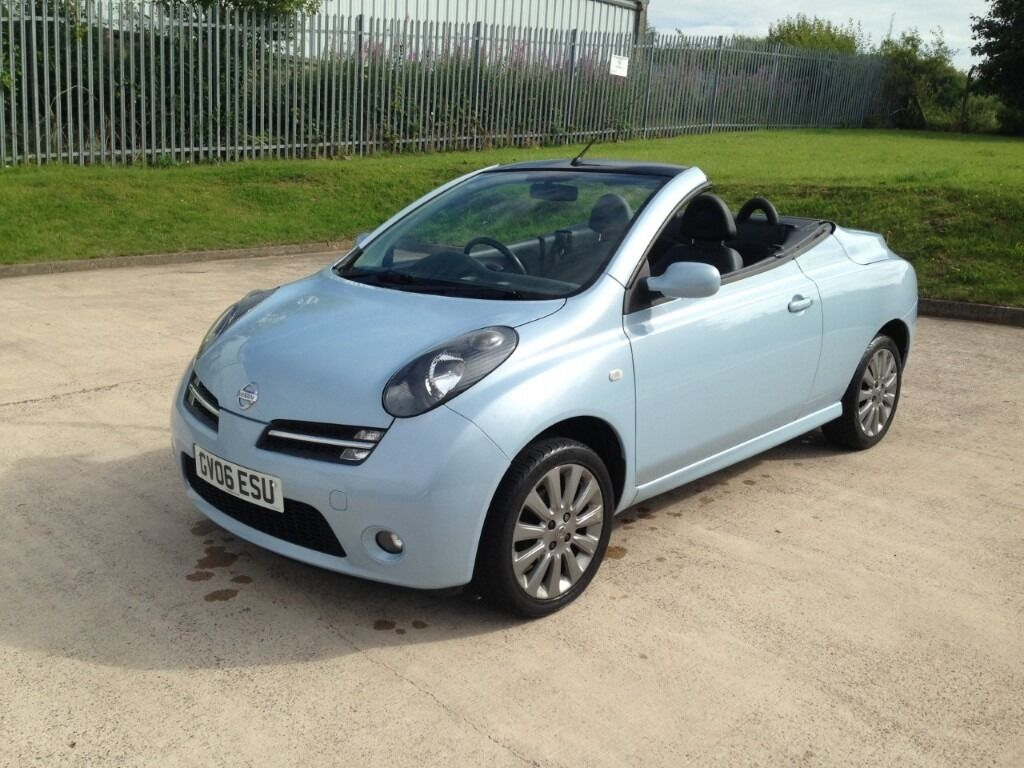 nissan micra c c 1 6 essenza 2dr 2006 06 reg convertible baby blue 1 0wner in stoke on. Black Bedroom Furniture Sets. Home Design Ideas