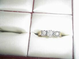 PRETTY 3 DIAMOND RING SIZE P