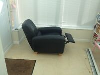 Leather recliner - black Italian leather