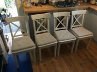 4 White Ikea Ingolf Chairs