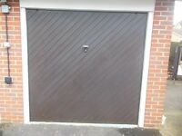 FREE - Pair of identical garage doors, up and over, brown wood, 2275mm W x 2205mm H frame