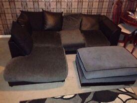 Grey/black corner sofa