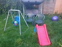 Garden swing, outdoor chairs, little swing and kids small slide