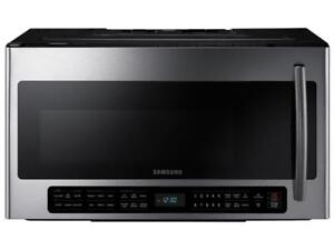 BRAND NEW SAMSUNG STAINLESS STEEL OVER THE RANGE  2.1 CU.FT.1000 WATTS,400 CFM,SMART SENSOR COOK,CERAMIC INTERIOR,OTR