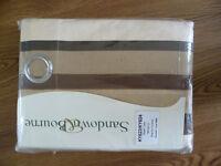 "£12 NEW. Ring Top Stripe curtains, L90"" X W66""( L229cm X W168cm) Beige, brown,Dark Brown and Ivory"