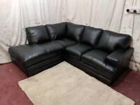 Black leather left handed corner sofa