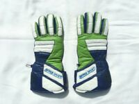 AKITO LADIES MOTORCYCLE GLOVES - Green/White/Dark Blue