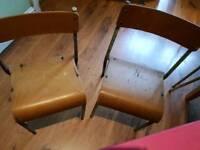 Vintage Retro Pair Child's Kid School Chair Desk Chair Side Table