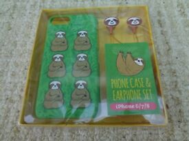 BRAND NEW SLOTH PHONE CASE & EARPHONE SET for iPhone