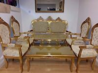 beautiful french dining room set. solid wood gold colour. excellent condition.