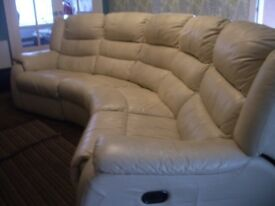 Curved electric leather reclining settee sofa