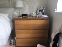 Set of two Ikea mirrored and brown wardrobes and matching drawers