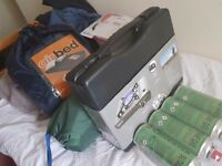 3 birth new unopened tent and new kettle .oven ring plus gas new ..