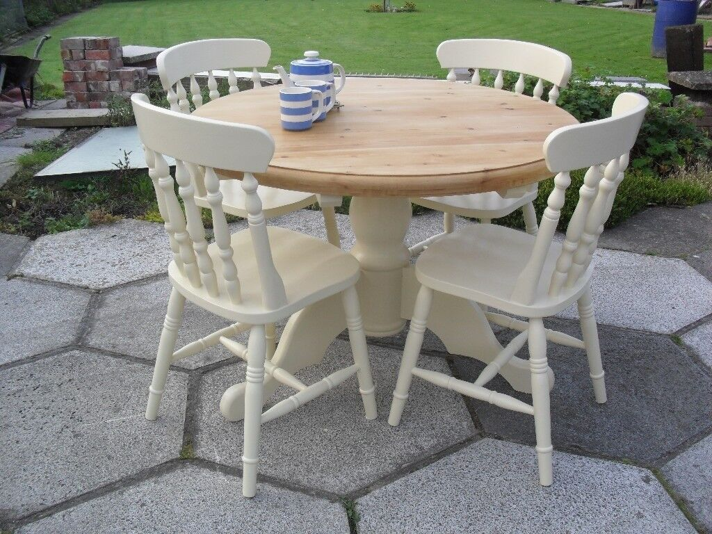 Shabby Chic Farmhouse Country Solid Pine Round Table and 4 Chairs In Farrow & Ball Cream No 67