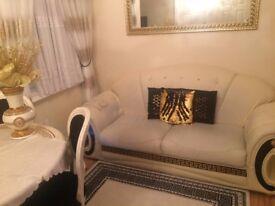 VERSACE LEATHER LOOK SOFA 3 SEATED CREAM GOLD BLACK £150 GREEK KEY MEDUSA DAVINCI ITALIAN STYLE