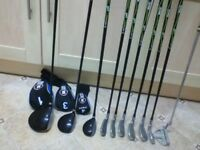 Golf club set,Ram.xr demons.graphite shafts.6 irons 3 woods and a putter.good condition 50 pounds.