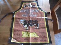vintage retro apron pinny pvc vinyl hereford bulls cattle cuts