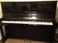 YAMAHA U1 Upright Piano c1978 Gloss Black Made in Japan with matching black chair