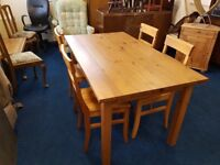 Solid Chunky Pine Dining Table and 4 Chairs