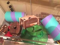 Large Hamster Cage/Housing. Plus accessories; flying saucer wheel, toys and chews