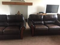 DFS REAL LEATHER 2+2 SOFAS SUPERB SET CAN DELIVER FREE